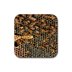 Queen Cup Honeycomb Honey Bee Rubber Coaster (square)