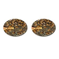Queen Cup Honeycomb Honey Bee Cufflinks (oval)