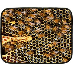 Queen Cup Honeycomb Honey Bee Double Sided Fleece Blanket (mini)