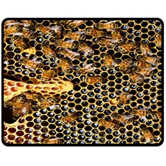 Queen Cup Honeycomb Honey Bee Double Sided Fleece Blanket (medium)
