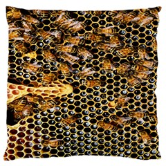 Queen Cup Honeycomb Honey Bee Large Flano Cushion Case (one Side)