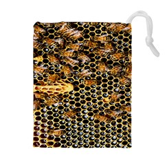 Queen Cup Honeycomb Honey Bee Drawstring Pouches (extra Large)