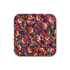 Psychedelic Flower Rubber Square Coaster (4 Pack)