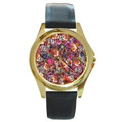 Psychedelic Flower Round Gold Metal Watch
