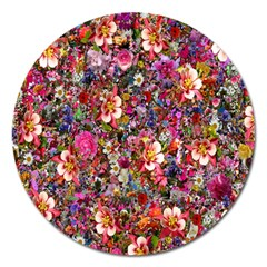 Psychedelic Flower Magnet 5  (round)