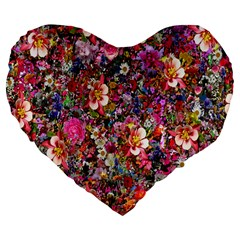 Psychedelic Flower Large 19  Premium Flano Heart Shape Cushions