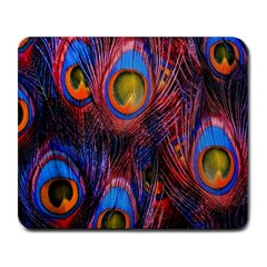 Pretty Peacock Feather Large Mousepads