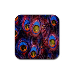 Pretty Peacock Feather Rubber Square Coaster (4 Pack)