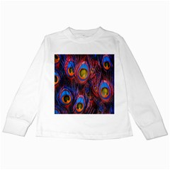 Pretty Peacock Feather Kids Long Sleeve T Shirts
