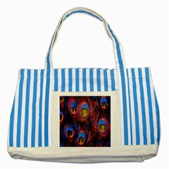 Pretty Peacock Feather Striped Blue Tote Bag