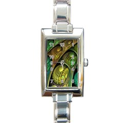 Psytrance Abstract Colored Pattern Feather Rectangle Italian Charm Watch