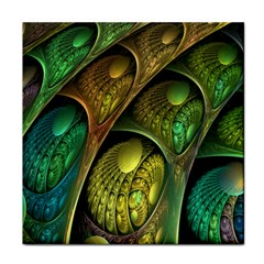 Psytrance Abstract Colored Pattern Feather Tile Coasters