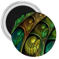 Psytrance Abstract Colored Pattern Feather 3  Magnets