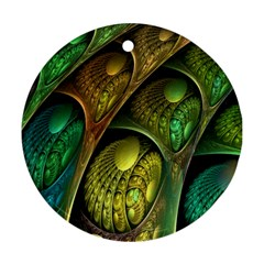 Psytrance Abstract Colored Pattern Feather Ornament (round)