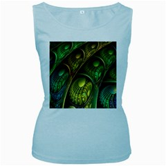 Psytrance Abstract Colored Pattern Feather Women s Baby Blue Tank Top