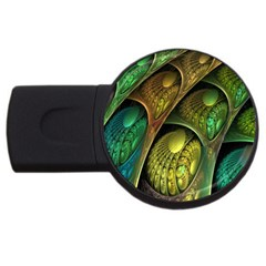 Psytrance Abstract Colored Pattern Feather Usb Flash Drive Round (2 Gb)