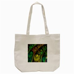 Psytrance Abstract Colored Pattern Feather Tote Bag (cream)