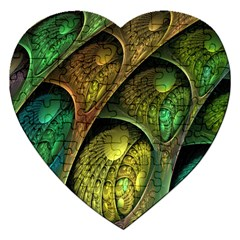 Psytrance Abstract Colored Pattern Feather Jigsaw Puzzle (heart)