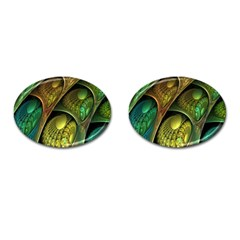 Psytrance Abstract Colored Pattern Feather Cufflinks (oval)