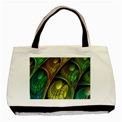 Psytrance Abstract Colored Pattern Feather Basic Tote Bag