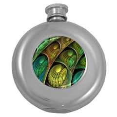 Psytrance Abstract Colored Pattern Feather Round Hip Flask (5 Oz)