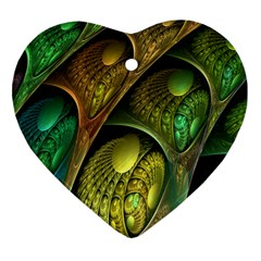 Psytrance Abstract Colored Pattern Feather Heart Ornament (two Sides)
