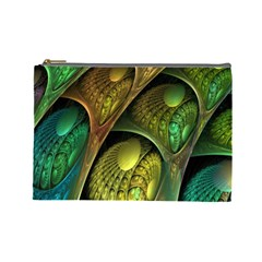 Psytrance Abstract Colored Pattern Feather Cosmetic Bag (large)