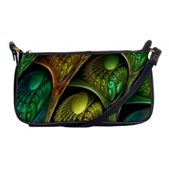 Psytrance Abstract Colored Pattern Feather Shoulder Clutch Bags