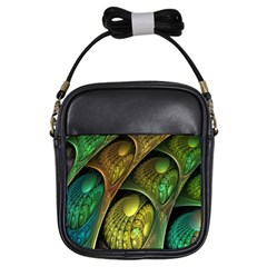 Psytrance Abstract Colored Pattern Feather Girls Sling Bags