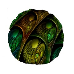 Psytrance Abstract Colored Pattern Feather Standard 15  Premium Round Cushions