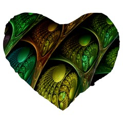 Psytrance Abstract Colored Pattern Feather Large 19  Premium Heart Shape Cushions