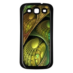 Psytrance Abstract Colored Pattern Feather Samsung Galaxy S3 Back Case (black)