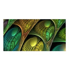 Psytrance Abstract Colored Pattern Feather Satin Shawl