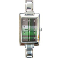 Plaid Fabric Texture Brown And Green Rectangle Italian Charm Watch