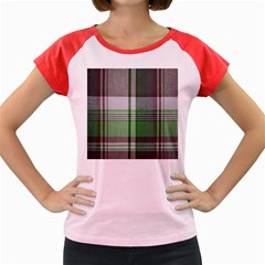 Plaid Fabric Texture Brown And Green Women s Cap Sleeve T Shirt