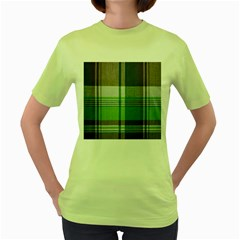 Plaid Fabric Texture Brown And Green Women s Green T Shirt