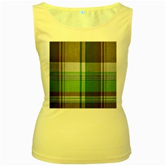 Plaid Fabric Texture Brown And Green Women s Yellow Tank Top