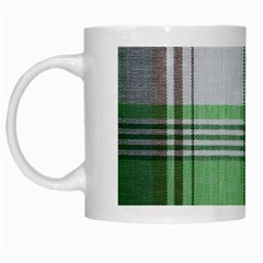 Plaid Fabric Texture Brown And Green White Mugs