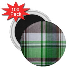 Plaid Fabric Texture Brown And Green 2 25  Magnets (100 Pack)