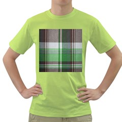 Plaid Fabric Texture Brown And Green Green T Shirt