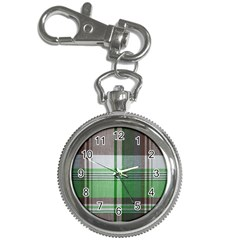 Plaid Fabric Texture Brown And Green Key Chain Watches