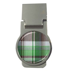 Plaid Fabric Texture Brown And Green Money Clips (round)