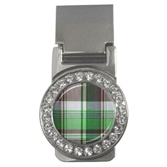 Plaid Fabric Texture Brown And Green Money Clips (cz)