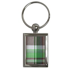 Plaid Fabric Texture Brown And Green Key Chains (rectangle)
