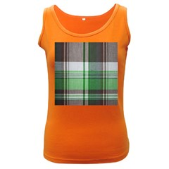 Plaid Fabric Texture Brown And Green Women s Dark Tank Top