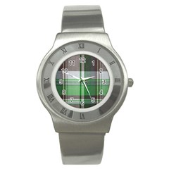 Plaid Fabric Texture Brown And Green Stainless Steel Watch