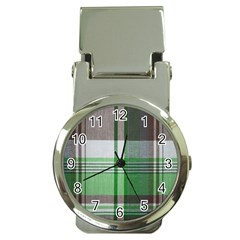 Plaid Fabric Texture Brown And Green Money Clip Watches