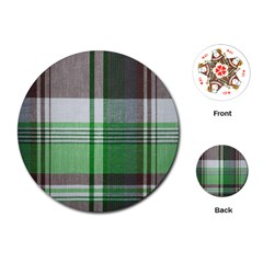 Plaid Fabric Texture Brown And Green Playing Cards (round)