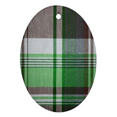 Plaid Fabric Texture Brown And Green Oval Ornament (two Sides)
