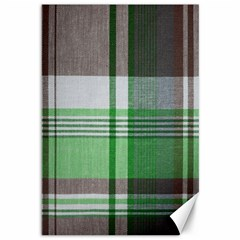 Plaid Fabric Texture Brown And Green Canvas 12  X 18